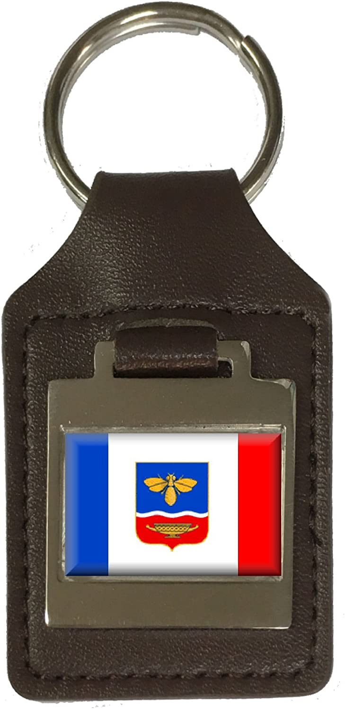 Leather Keyring Engraved Simferopol City Ukraine Flag