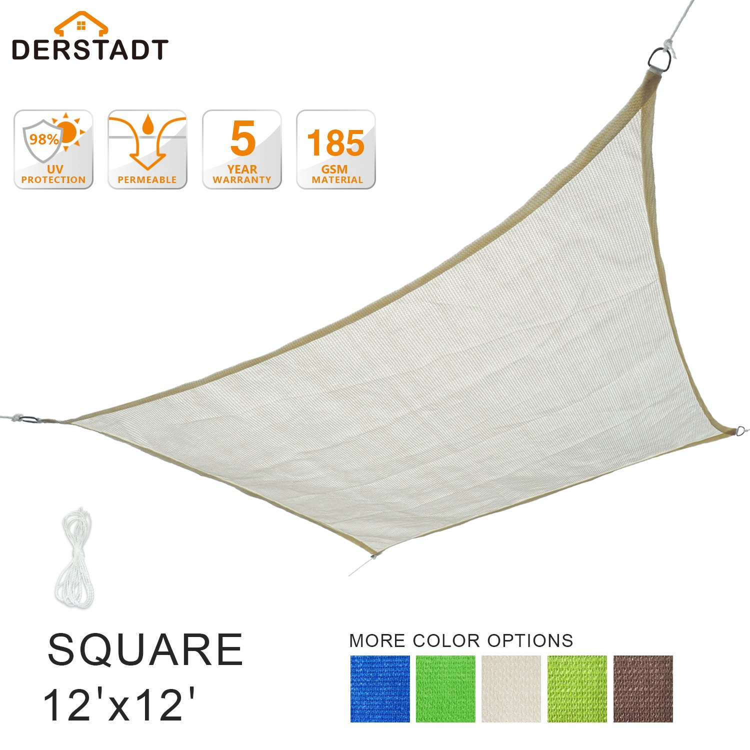 Derstadt Sun Shade Sail Outdoor Patio Canopy Backyard, Square