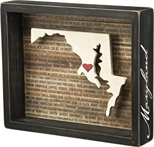 Primitives by Kathy Wanderlust Box Sign, 9 x 7.5-Inch, Maryland