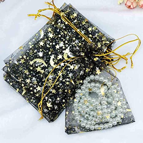 100PCS Organza Gifting Pouches Gift Bags Drawstring Pouches for Wedding Church