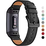 WFEAGL Compatible for Charge 4 / Charge 3 / Charge 3 SE Fitness Sport Band, Top Grain Leather Wristband Slim Replacement Stra