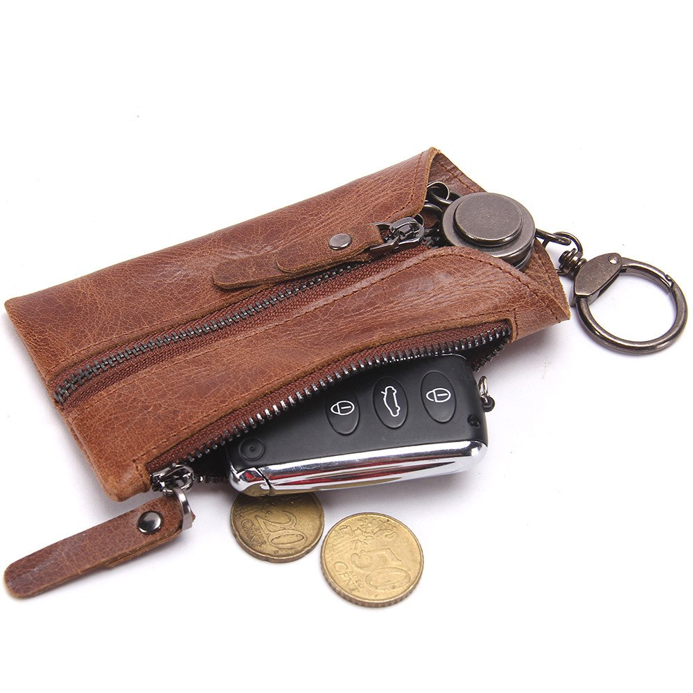 Contacts Genuine Leather Zipper Coin Pocket Purse Car Key Case Holder Wallet Keychain Brown
