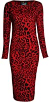 Forever Womens Long Sleeves Printed Bodycon Long Stretchy Midi Dress