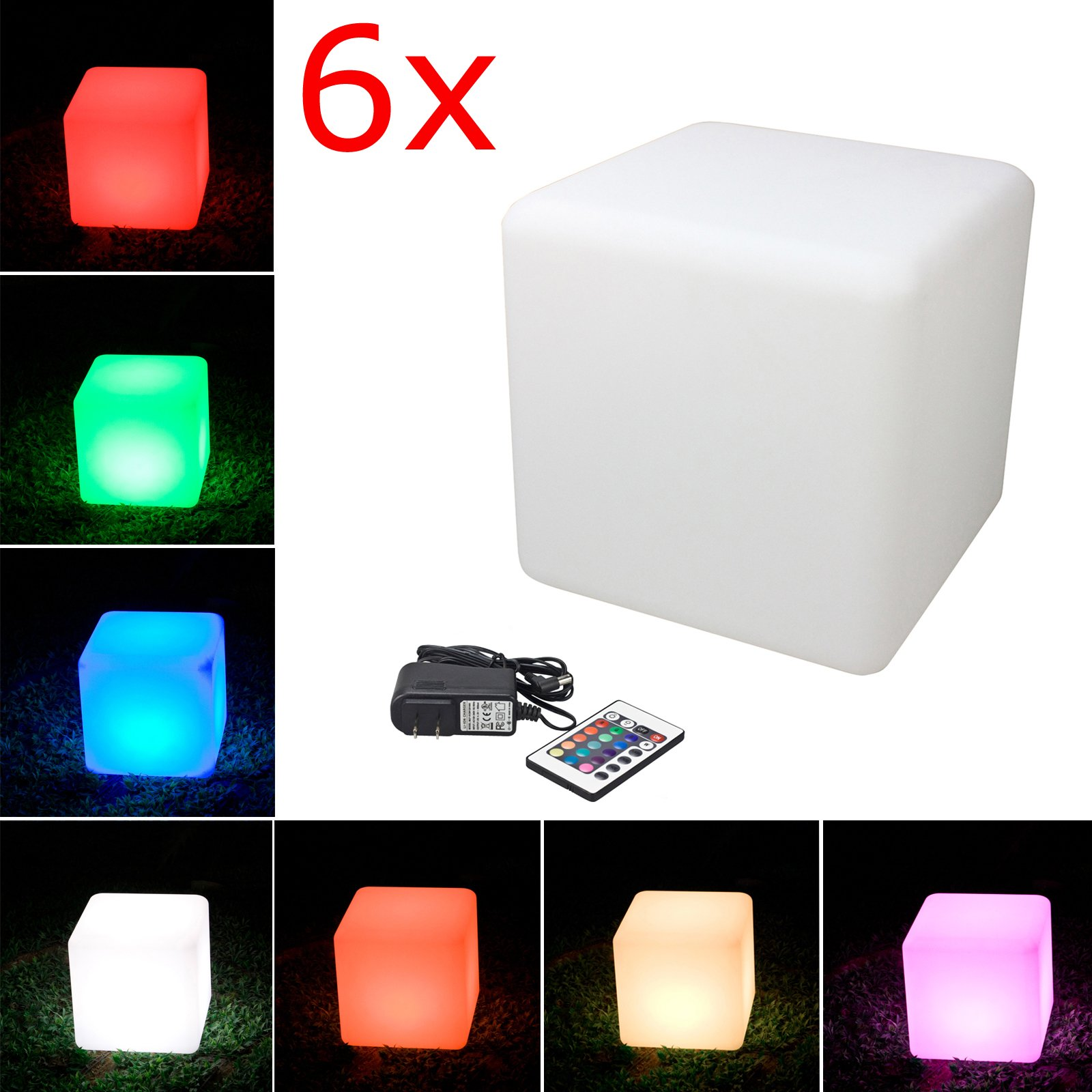 LED Cube Light, LOFTEK Shape Light, Rechargeable and Cordless Decorative Light with 16 RGB Colors and Remote Control, 16-Inch Cube, Pack of 6