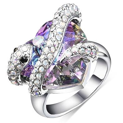 57d3d7331fb0f sedmart Snake Love Heart Crystal Ring 2017 White Gold Animal Promise  Rhinestone Ring with Swarovski Element Crystal for Women Size 6-8