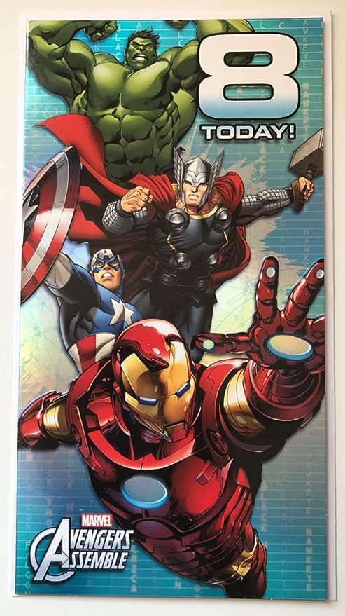 Amazon.com: Marvel Avengers Assemble 8 hoy. Tarjeta de ...