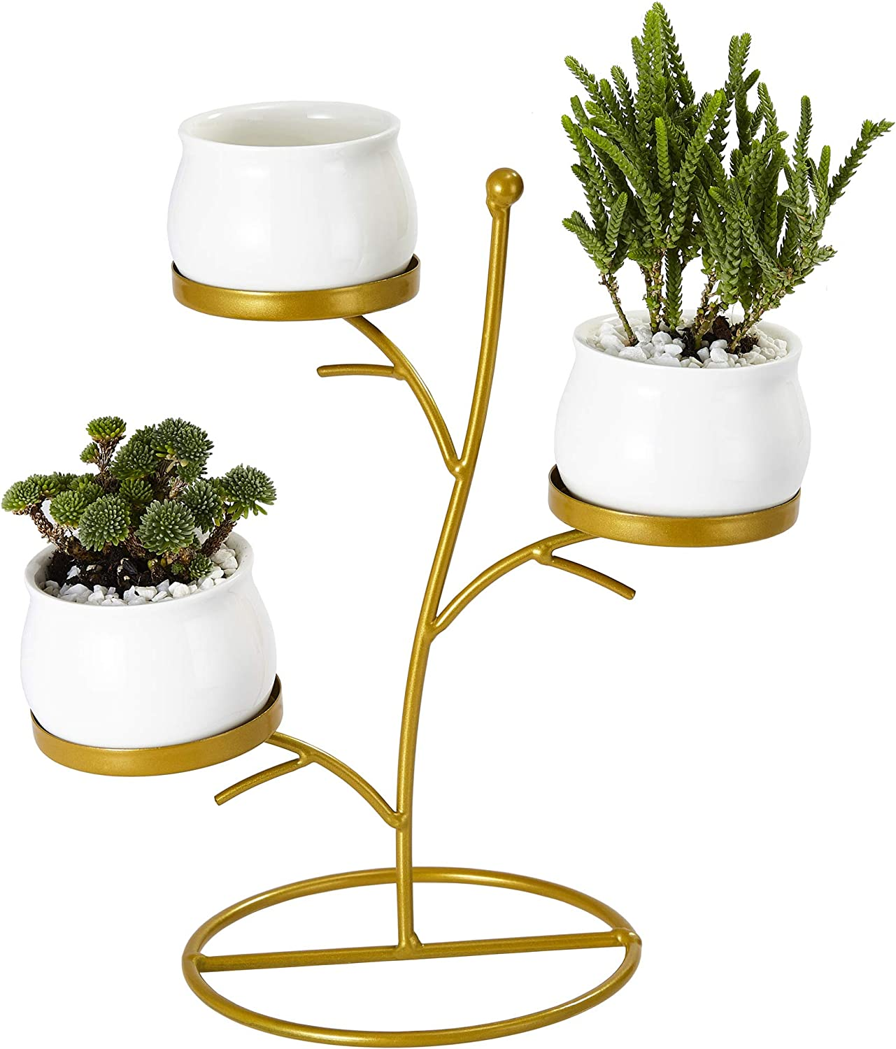 Flowerplus Small Succulent Planter Pots, 3 Pack 2.75 Inch White Ceramic Round Decorative Cactus Flower Plant Pot With Tree Tier Metal Stand for Indoor Outdoor Home Office Garden Kitchen D cor 3PP025