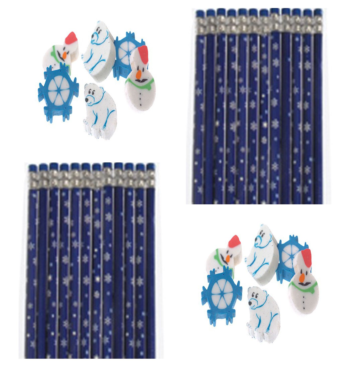 winter snowflakes pencils and erasers classroom set