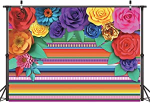 Dudaacvt 7x5ft Mexican Theme Festival Party Colorful Striped Backdrop Fiesta Cinco De Mayo Paper Flowers Background Party Decoration for Cake Table Decor Photo Booth D335