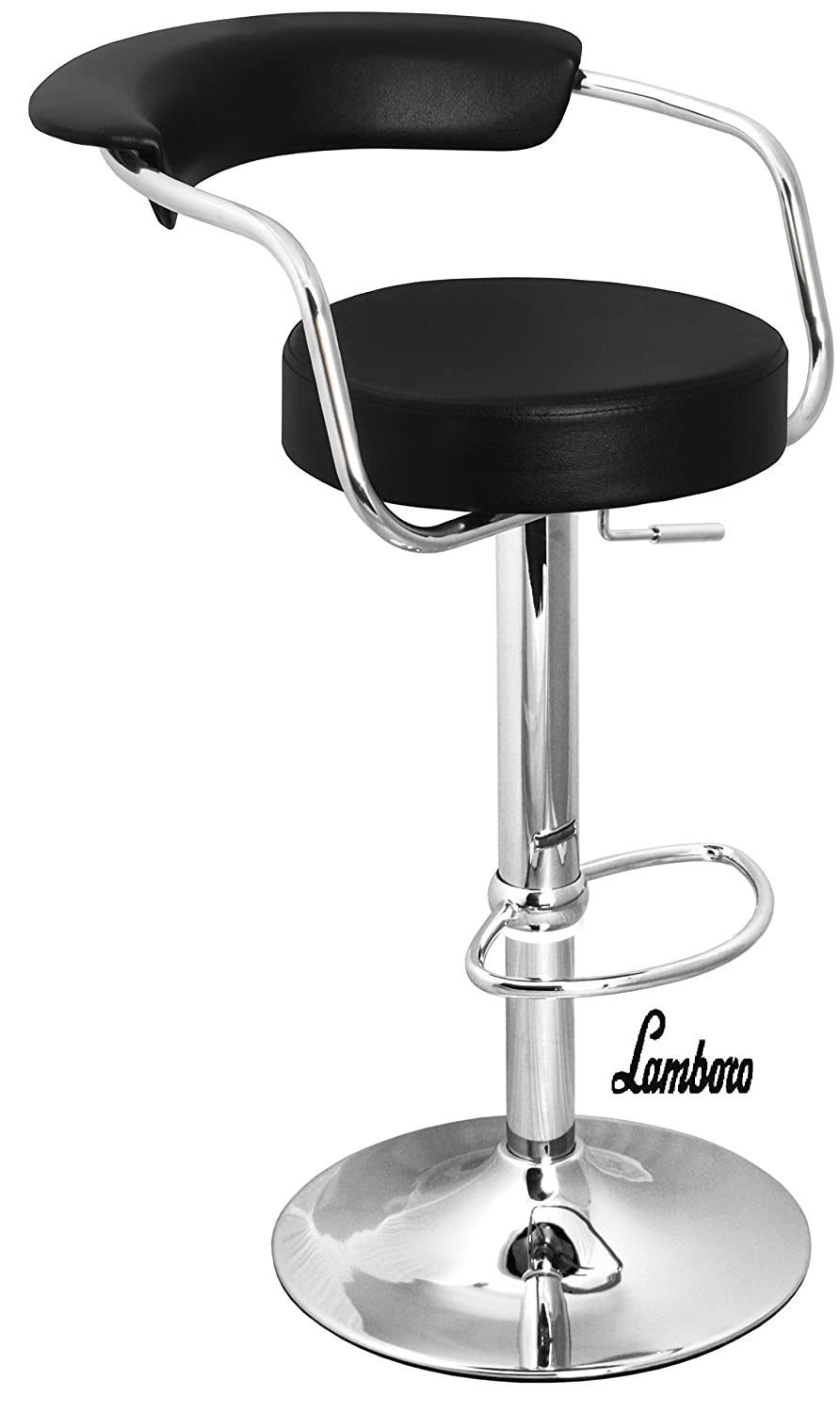 Black & Chrome Swivel Bar Kitchen Breakfast Stools Chair By Lavin Lifestyle 060