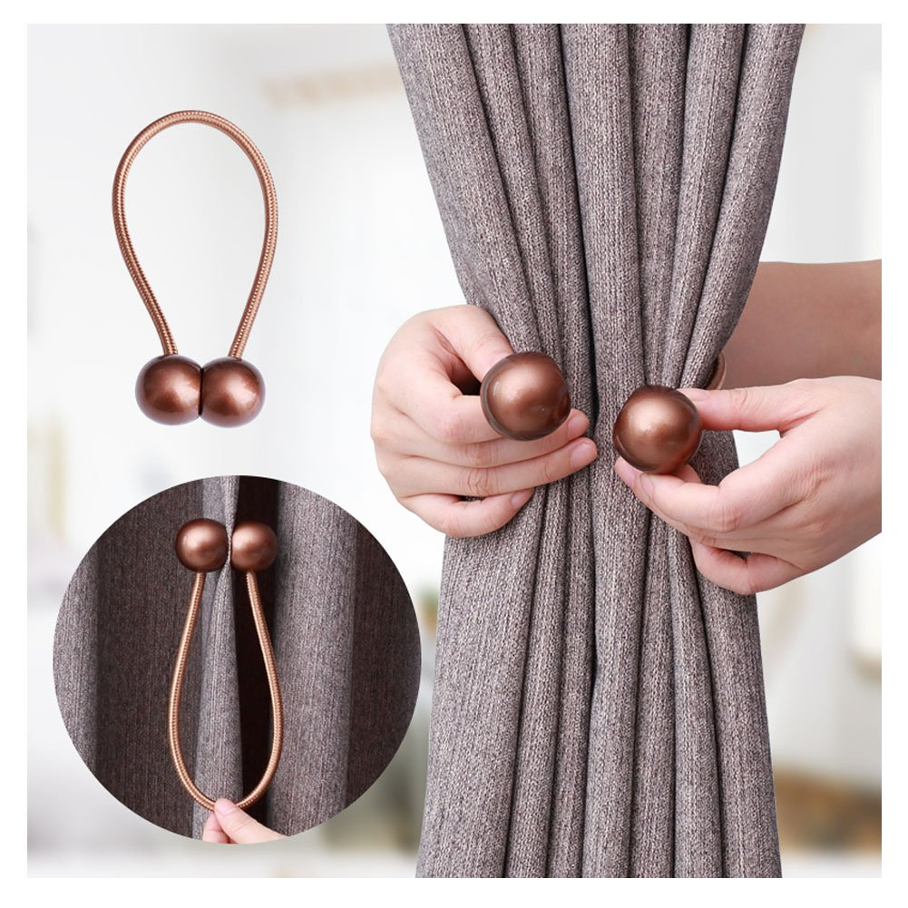 YING CHIC YYC 1Pair Bright Surface Pearl Magnetic Curtain Tieback Decor Curtain Buckle Drapery Curtian Bind (Dark Coffee)