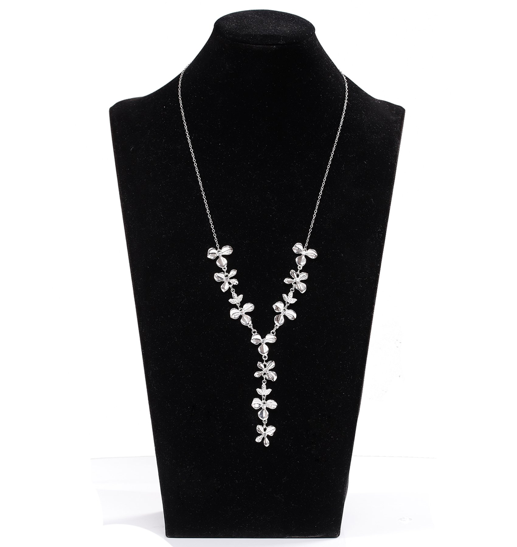 YOUMI Flower Leaf Y Shaped Long Necklace Adjustable Lariat Necklace Choker Statement Pendant for Women(Silver)