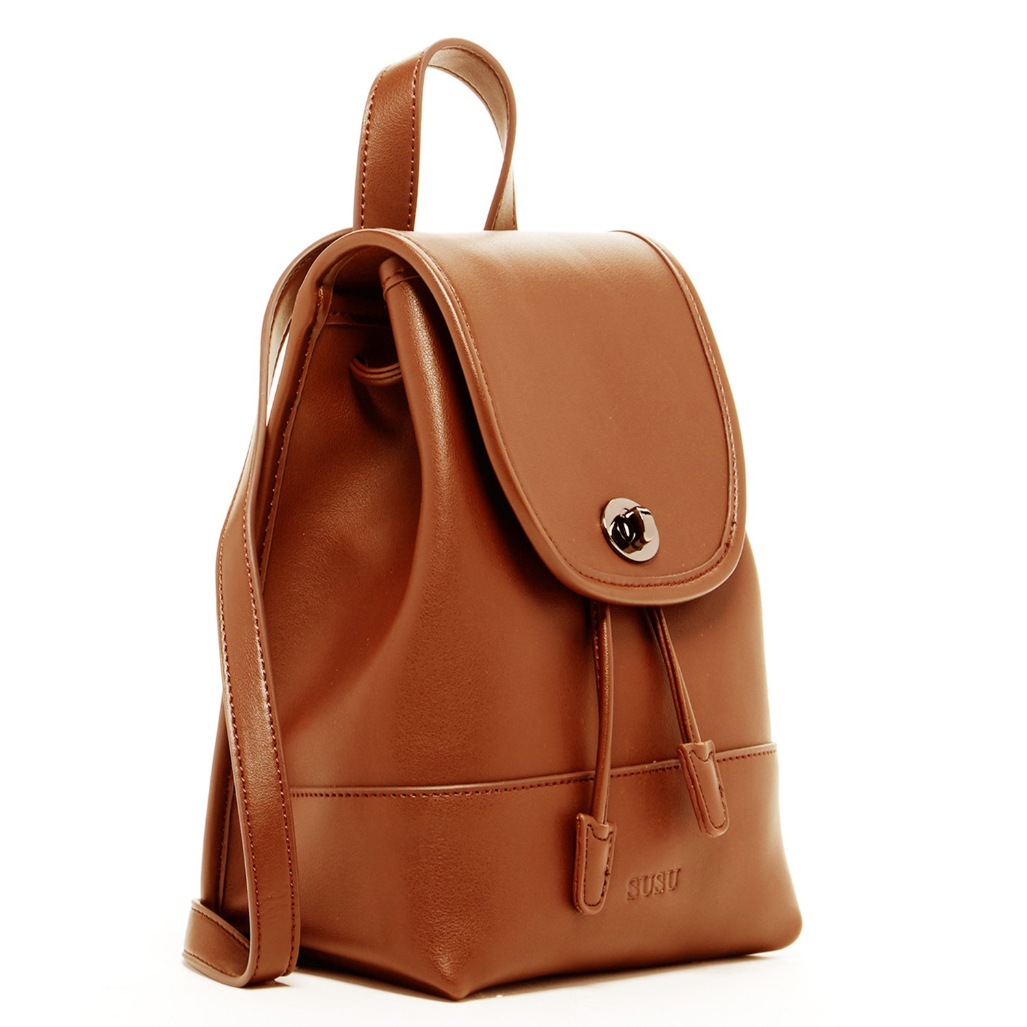 Brown Leather Backpack For Women Small Fashion Backpacks Purse For Travel Designer Vintage Style Pocket book For Girls Knotted Drawstring Tip