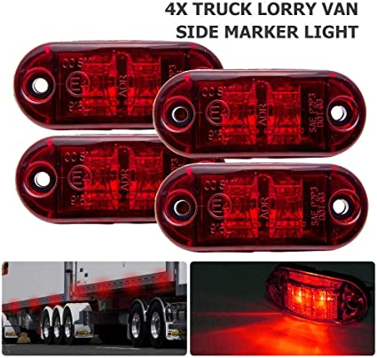 4/piezas 24/V blanco LED rojo Side Marker Lights Chasis de cami/ón remolque camper caravana bus SUV Van