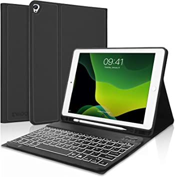 KVAGO Teclado iPad 10.2 con Funda,Teclado Funda para iPad 10.2 2020(8ª Gen)/iPad 10.2 2019(7ª Gen)/iPad Air 3/iPad Pro 10.5 con Teclado Español ...