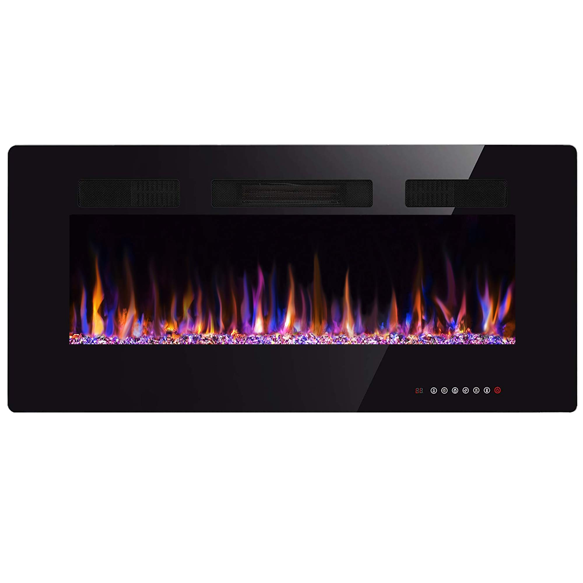 Xbeauty 36'' Electric Fireplace in-Wall Recessed and Wall Mounted 1500W Fireplace Heater and Linear Fireplace with Timer/Multicolor Flames/Touch Screen/Remote Control Black