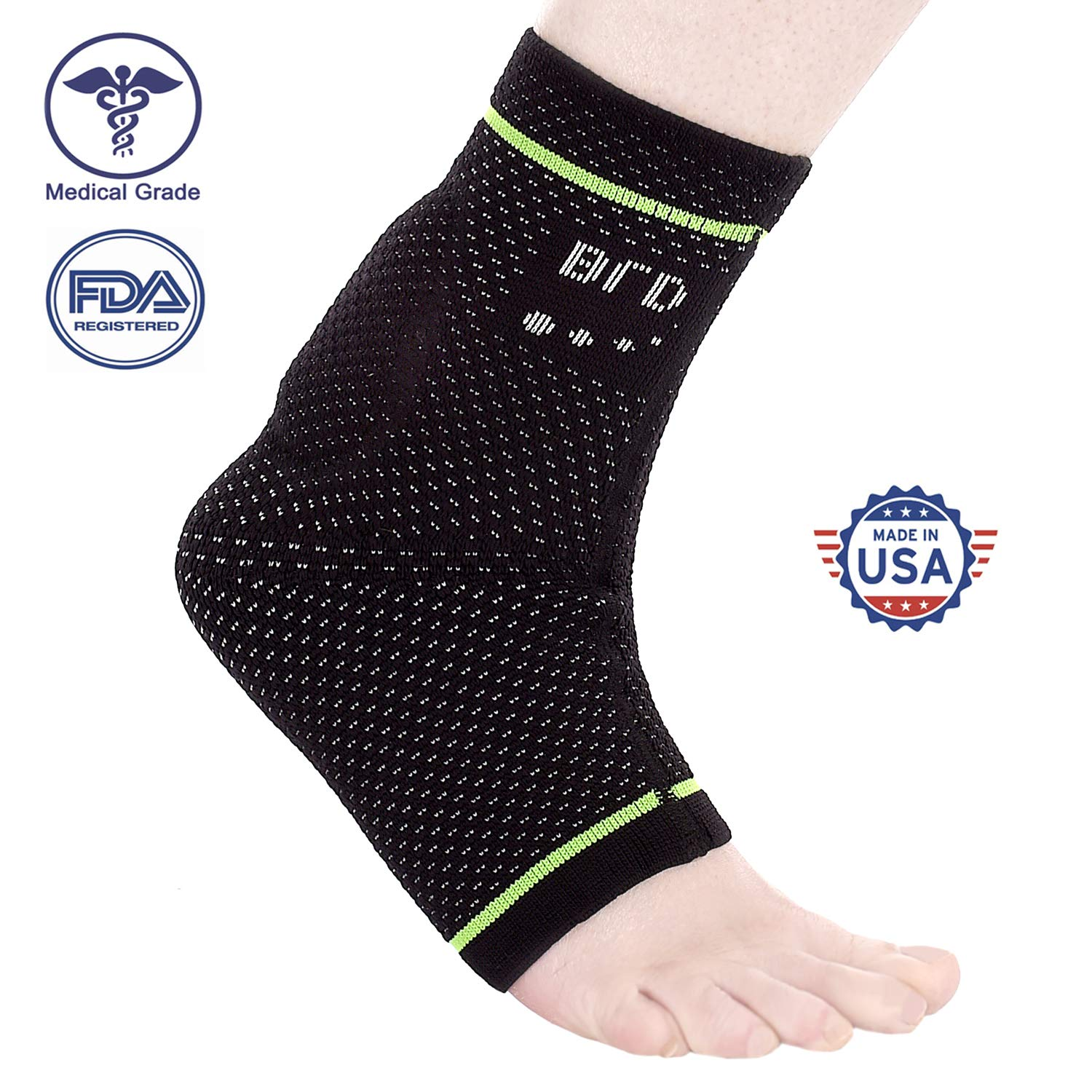 BRD Sport Achilles Compression Ankle Brace - FDA Registered Brace Offers Breathable, Comfortable Recovery from Pain, Swelling, Tendonitis (Black with Green Accent Stripe, L [9''-9.75''])