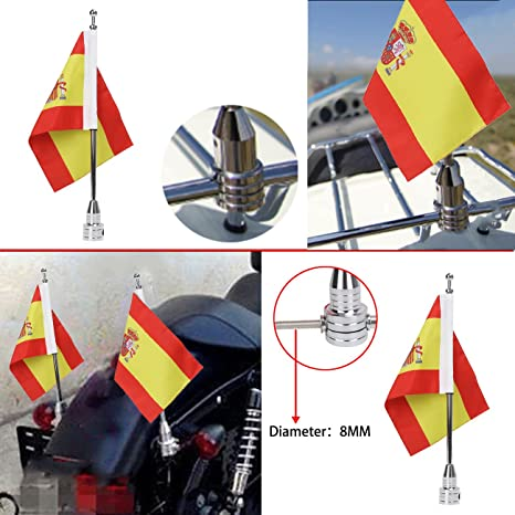 Bandera de motocicleta poste y 6