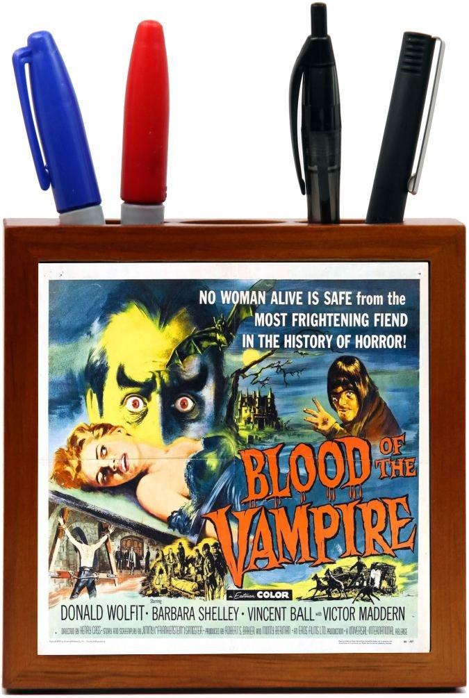 Rikki Knight Vintage Movie Posters Art Blood of Vampire 2 Design 5-Inch Wooden Tile Pen Holder (RK-PH3702)