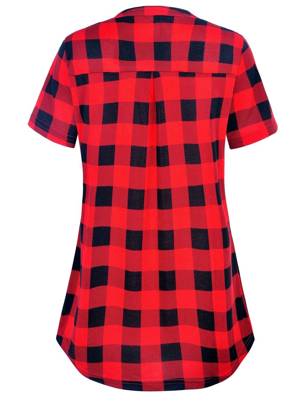 Derminpro Women\'s Plaid Tunics Summer Cute V Neck Cozy Lounge Short Sleeve Blouse Shirts Black Red Large