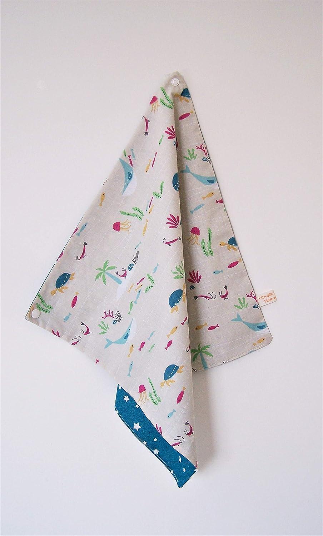 Serviette de table enfant, avec attache pression; serviette animaux de la mer doublée tissu coton