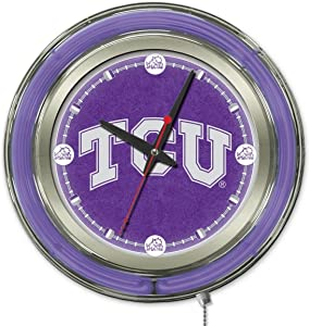 TCU Horned Frogs HBS Neon Purple College Battery Powered Wall Clock (15