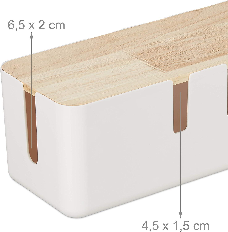 Relaxdays Kabelbox Groß Für Steckdosenleiste Kunststoff Holz Kabel Verstecken 11 5x30x12 5 Cm Steckdosenbox Weiß Küche Haushalt