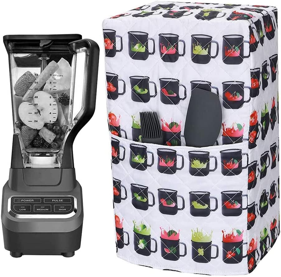 Universal Blender Dust Cover, Quilted Polyester Cotton Blender Appliance Cover Compatible with Ninja 1000 Watt Professional Blender, Kitchen Small Appliance Dust and Fingerprint Protection