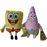 Spongebob 11'' & Patrick Star 12'' Pack 2x Plush Soft Toys Friends Plushie SquarePants Bob Stuffed Cuddly Yellow Doll Cartoon Sea Sponge Starfish Super Original TV Nickelodeon Serie Brand New High Quality