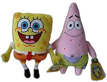 Bob Esponja 28cm y Patricio Estrella 31cm Supersoft Pack 2x Peluches Amigos Muñeco Gran Calidad Super