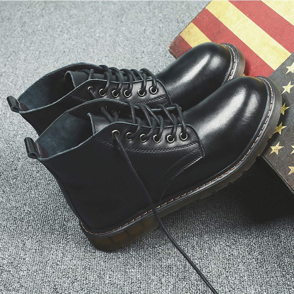 Leder Martin Stiefel Schuhe British Retro Mode Rutschfeste Schuhe Stiefel Lace Up Casual Für Formale Kleid High Top Stiefel,schwarz,39 - a169aa