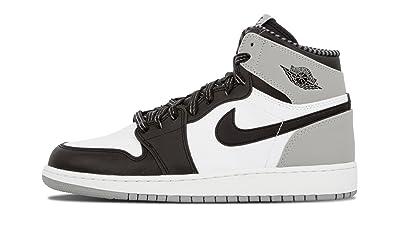 newest collection 5b44b 78e4a Jordan Nike Boys Air 1 Retro High OG BG Barons White/Black-Wolf Grey  Leather Basketball Shoes Size 7Y