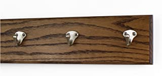 "product image for Oak Wall Mounted Coat Rack Singular Style Satin Nickel Hooks 4.5"" Ultra Wide (Walnut, 15"" x 4.5"" with 3 Hooks)"