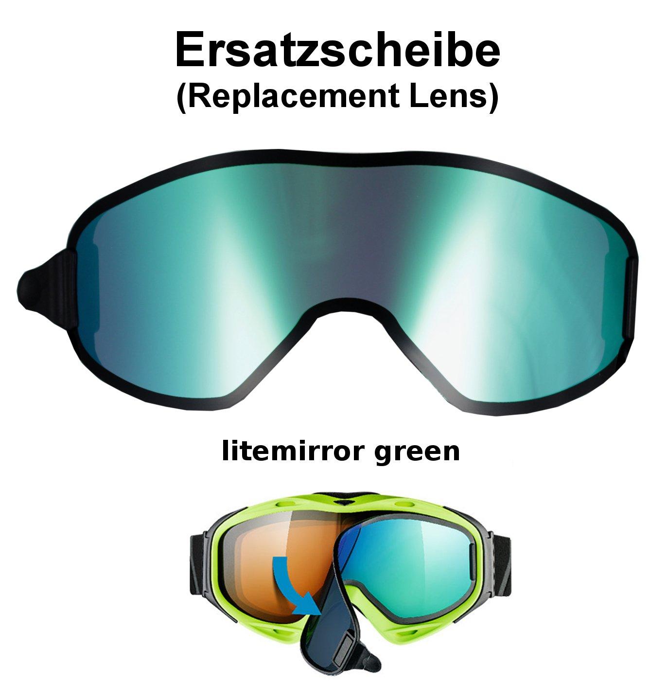 uvex g.gl 300 & uvision TO off ess Ersatzscheibe für Skibrille g.gl300 als take off - single lens litemirror green