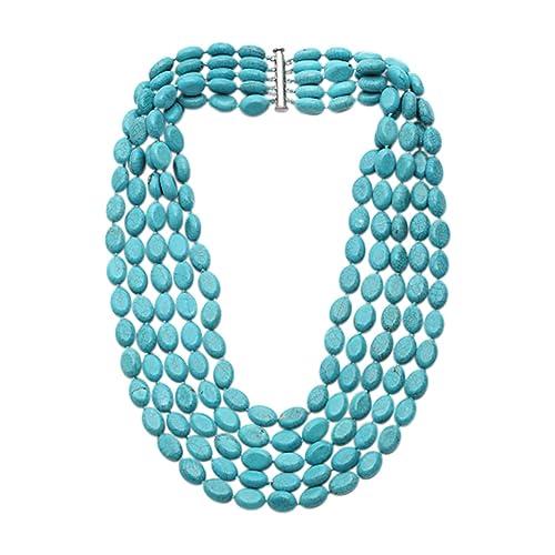 TreasureBay Stunning Five-strand Turquoise Gemstone Beaded Necklace - Presented in a Beautiful jewellery Gift Box