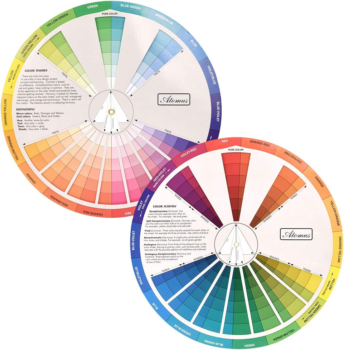 Creative Color Wheel, Paint Mixing Learning Guide Art Class Teaching Tool for Makeup Blending Board Chart Color Mixed Guide Mix Colours (23CM)
