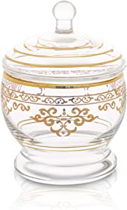 "Glass Jar and Lid with Rich Gold Design - Wedding & Home Décor Centerpiece Cookie Candy Buffet Decorative Kitchen Storage Jar - Measures: 6""H x 4""D"