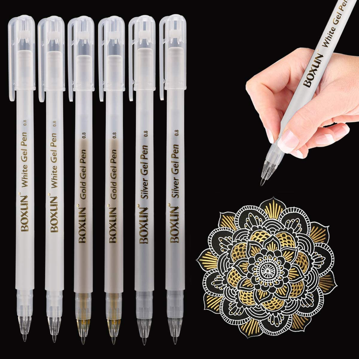6 Gel Ink Pens 3 Gold And 3 Silver Free Delivery