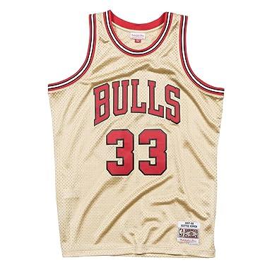 Mitchell & Ness NBA Chicago Bulls Scottie Pippen 33 1997-98 Retro Jersey Swingman Oficial Away Hardwood Classics Gold Exclusive Collection, Camiseta ...