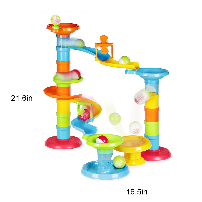 Happkid Kugelbahn Murmelbahn für Kinder 30 Stück Konstruktionsbausteine mit 3 Kugeln für Kinder ab 1 Jahr
