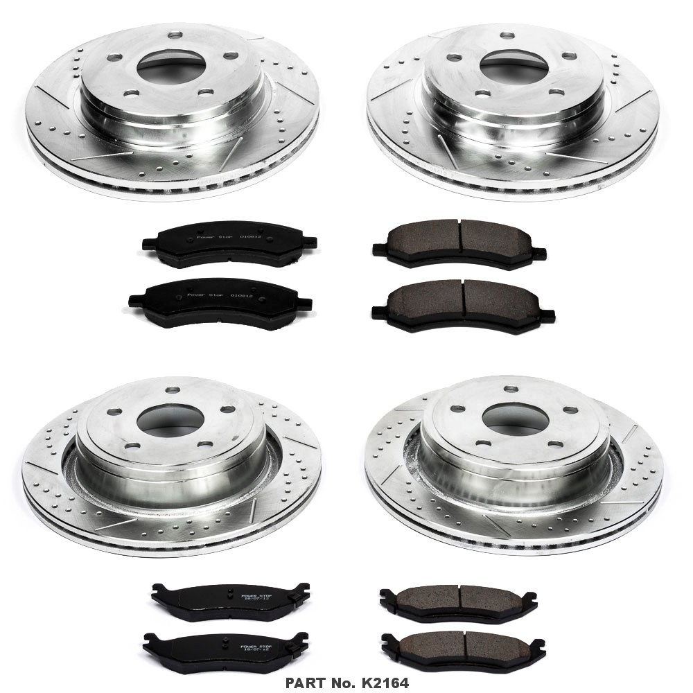 Power Stop K2164 Front and Rear Z23 Evolution Brake Kit with Drilled//Slotted Rotors and Ceramic Brake Pads