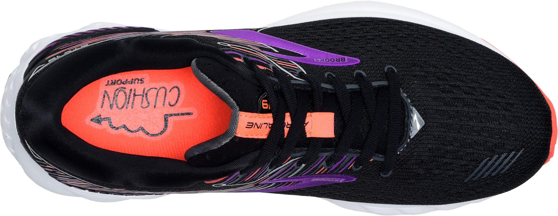 Brooks Women's Adrenaline GTS 19 Black/Purple/Coral 5.5 B US by Brooks (Image #2)