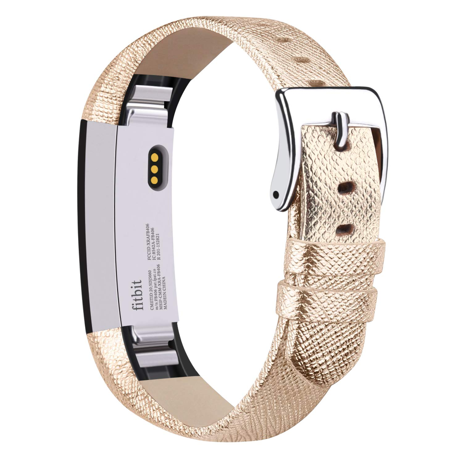 Vancle Compatible with for Fitbit Alta Bands Leather, Adjustable Replacement Accessories Fitbit Alta HR Bands for Women Men (11. Gold)