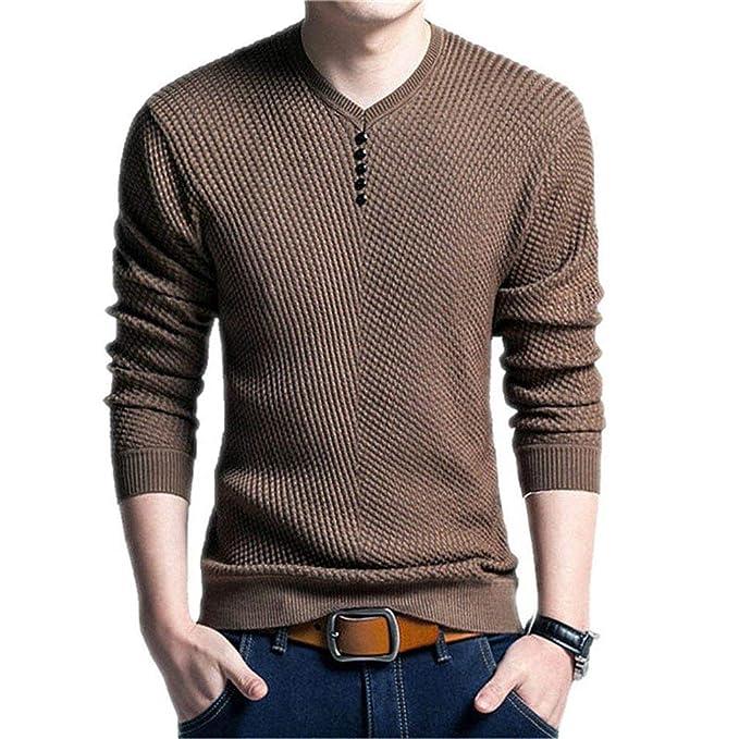 eabf4dfac7635 Suéter De Color Sólido Hombres N Ropa Hombres con Cuello Suéter Hombres En  V Camisa De Manga Larga Suéter De Lana para Hombre Vestido Casual Cachemira  De ...