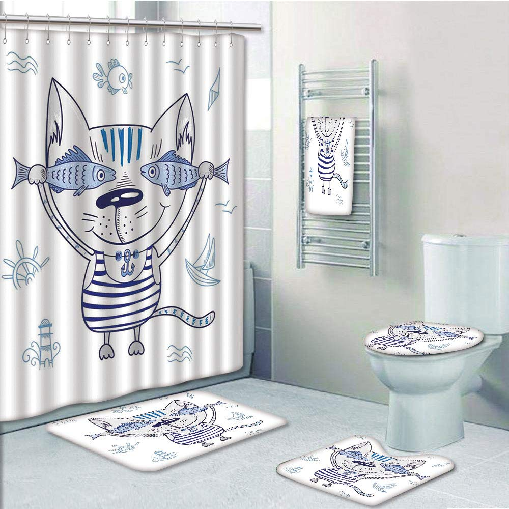 Bathroom 5 Piece Set Shower Curtain 3D Print,Ocean Animal Decor,Naughty Cat with Fish in Striped T Shirt Anchor Pendant and Nautical Sign,Blue Grey,Bath Mat,Bathroom Carpet Rug,Non-Slip,Bath Towls