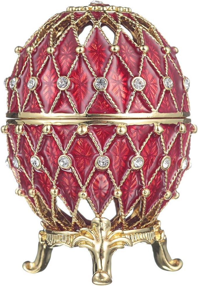 portagioie con griglia 7,5 cm rosso uovo intagliato russo in stile Faberg/é