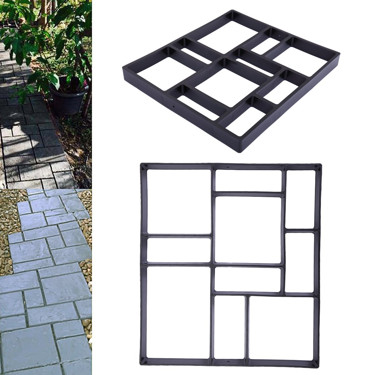 LAZYMOON Pathmate Stone Molds Concrete Stepping Road DIY Mold Outdoor Decorative Stone Walk Maker Overall Dimensions: 17.7''×15.7''