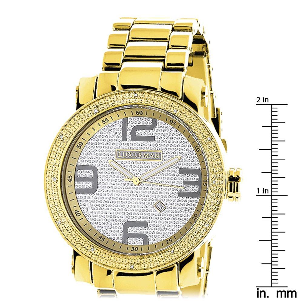 d9b5dbe762e LUXURMAN Mens Diamond Watch Yellow Gold Plated 0.12ct