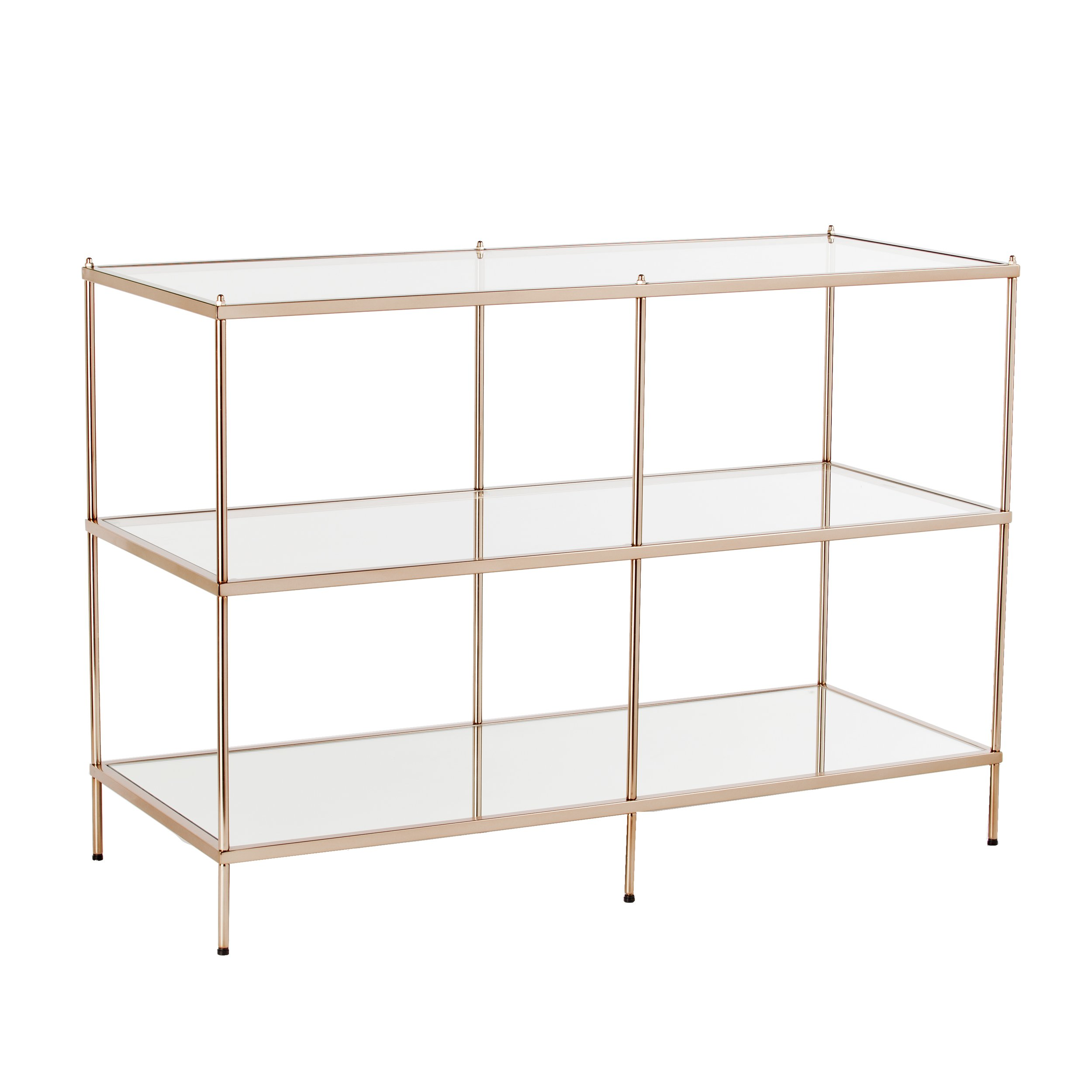 Knox Console Table - Metallic Gold Metal Frame w/ Glass Tops - Glam Style Décor by Southern Enterprises