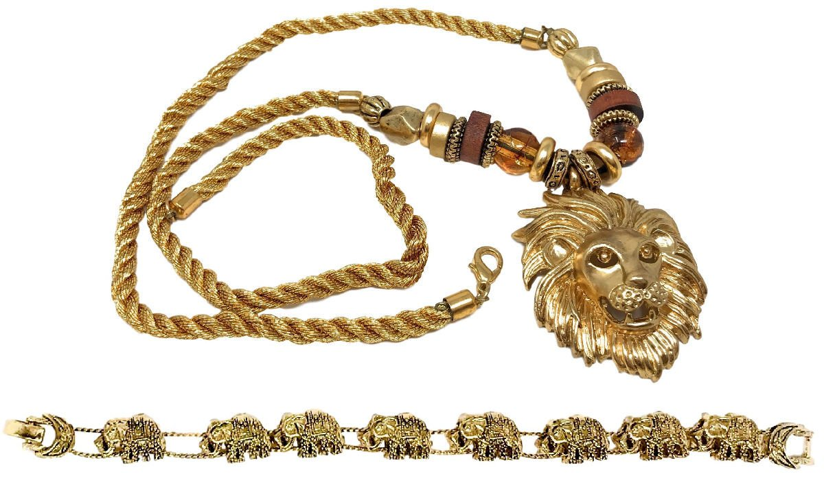 Dave's Collections Roaring Lion Safari Gold-Plated Twisted Cord Necklace Elephant Bracelet Set 30''